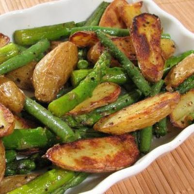 Roasted Fingerling Potatoes with Asparagus and Green Beans