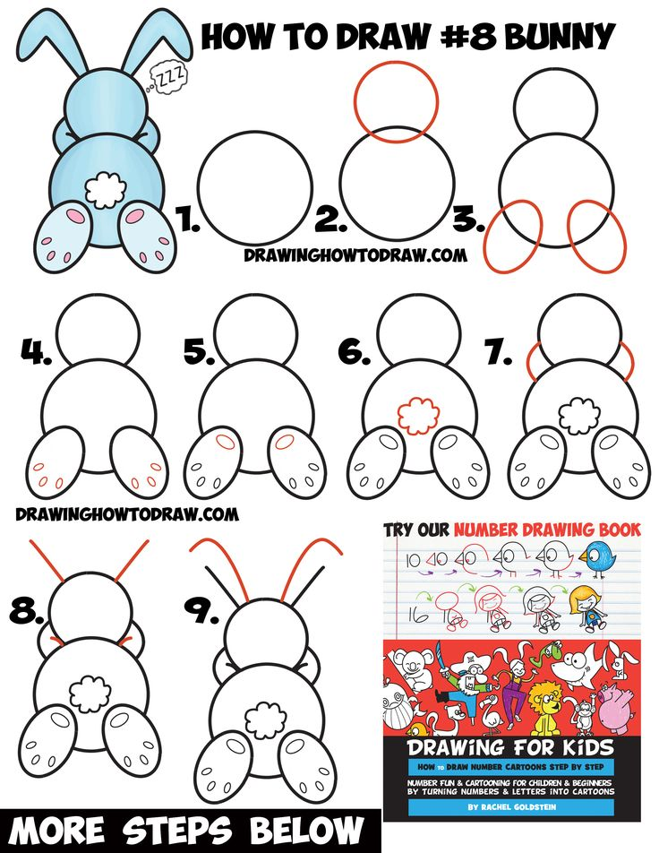how to draw a cute cartoon sleeping bunny rabbit from 8 shape easy step by - Drawing For Preschoolers