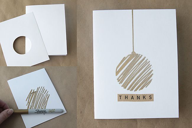 easy DIY thank you cards with metallic Sharpies - I'd make it Christmas cards