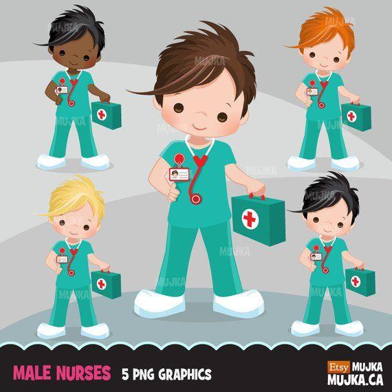 Male Nurse Clipart Little Boy Graphics Medical Hospital