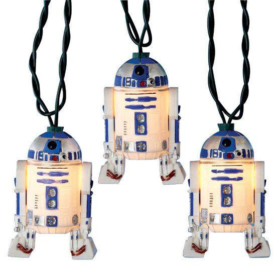 R2-D2 Lights: 10 indoor/outdoor lights, $24. #Star_Wars #R2_D2_Lights: War R2D2, 10 Lights, Christmas Lights, Stars War, R2D2 Lights, String Lights, Lights Sets, Christmas Trees, Parties Lights