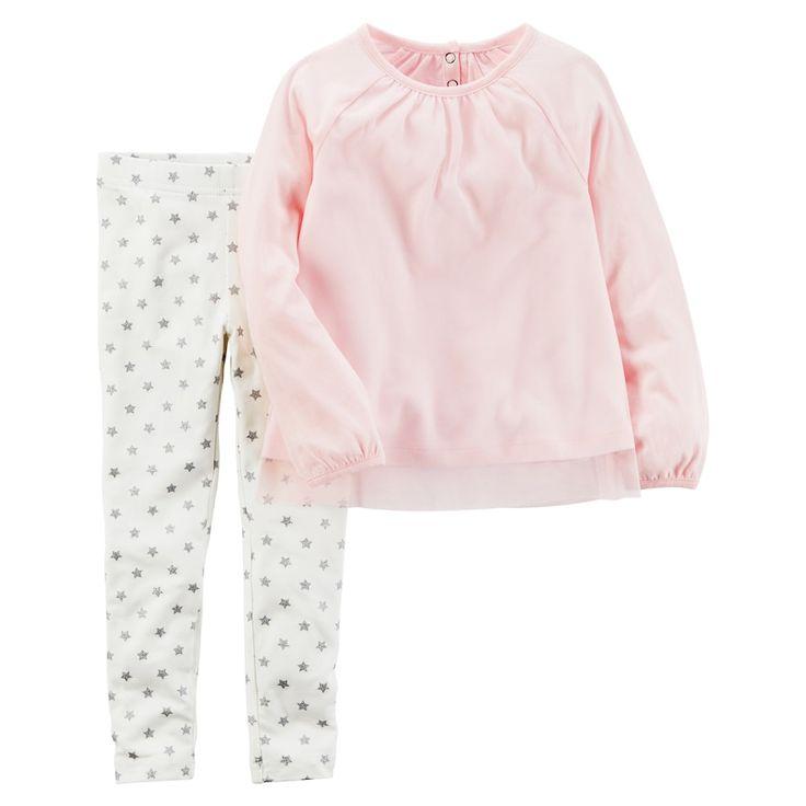 Girl's 4-8 Carter's 2-Piece Tulle Top & Star Legging Set, Size: 6X, Light Pink