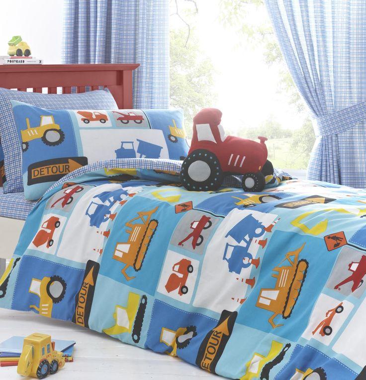 digger tractor boys bedding detour duvet cover set sheet or curtains - Kids Sheets Boys