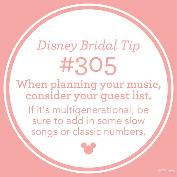 Disney Bridal Tip 305 When Planning Your Music Consider Guest List