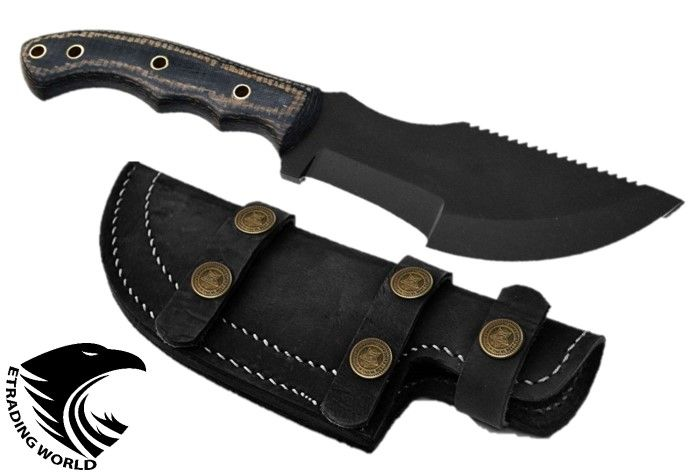 Damascus Hunting Knife Tracker Knives 1095 High Carbon Sheath Black Power Micrta Leather Sheath Damascus Knife Damascus Steel
