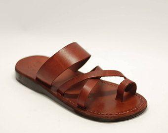 Sandali di cuoio marroni sandalo sandali fatti a mano marrone per uomini donne e Sandali Sandali Jerusalem sandali pantofole in pelle sandali di Gesù