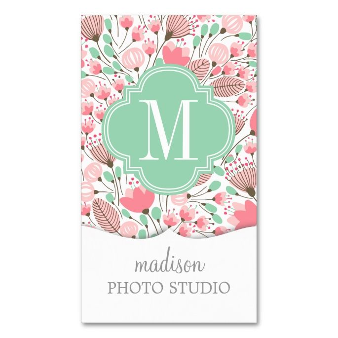 Elegant Modern Floral Pink Mint Professional Double-Sided Standard Business Cards (Pack Of 100). I love this design! It is available for customization or ready to buy as is. All you need is to add your business info to this template then place the order. It will ship within 24 hours. Just click the image to make your own!