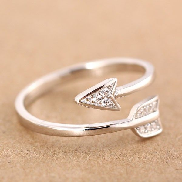 925 Sterling Silver Jewelry Arrow Ring size 5 6 7 8Love Gift Girls Lady DS02