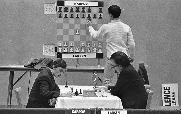 Anatoly Karpov and Bent Larsen in round 3 of Church's Fried Chicken International Chess Tournament, November 21, 1972