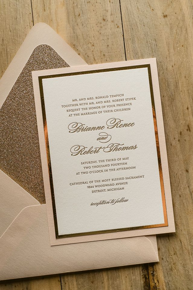 DIANE Suite Fancy Glitter Package, blush and gold, glitter wedding invitations, pink and gold, letterpress wedding invitations, elegant wedding invitations, formal wedding invitations