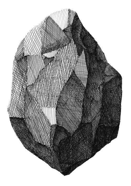 Artist: tumblr user ak47. I was very impressed by the use of crosshatching in this image. The varying directions and intensities allowed for numerous and distinctive faces on this rock.