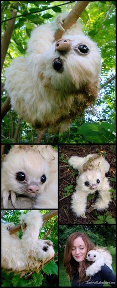 Baby Moss-Sloth, Handmade Fantasy Creature by Heiditruth