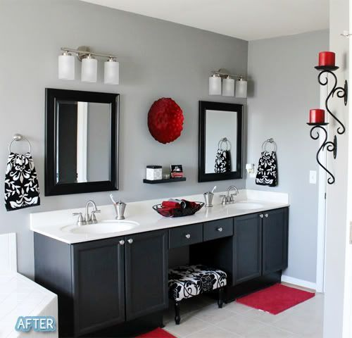 this is the theme of my master bath black white and - Black Grey Red Bedroom Ideas