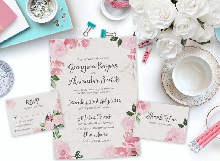 Pink Watercolor Printable Wedding Invitation Set | Floral Wedding Invitation | Instant Download Wedding Invite | DIY Wedding Invitation by SmudgeCreativeDesign on Etsy