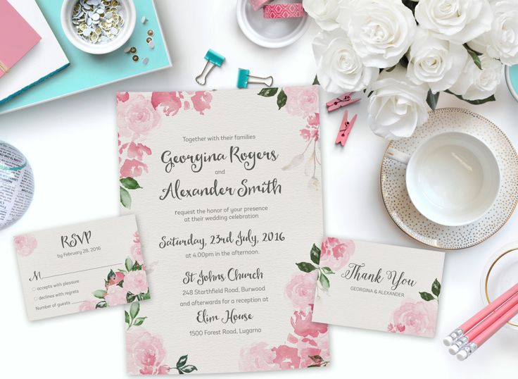 Pink Watercolor Printable Wedding Invitation Set | Floral Wedding Invitation | Instant Download Wedding Invite | DIY Wedding Invitation by SmudgeCreativeDesign on Etsy