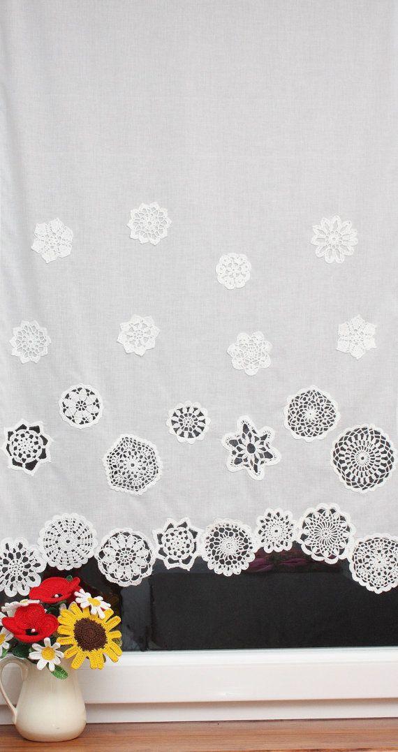 Curtain with crochet doilies 4 rows short curtain by DecorAnna