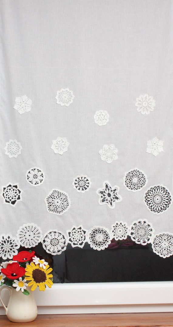 Curtain with crochet doilies 4 rows short curtain by DecorAnna