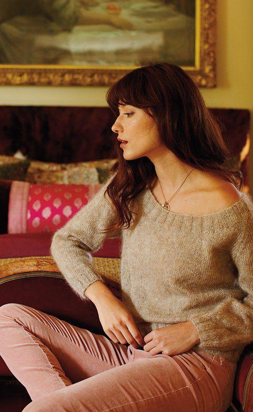 Пуловер из мохера спицами Newport