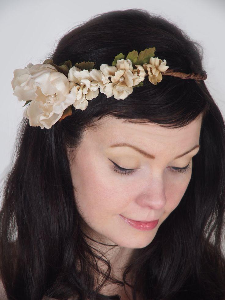Floral Wedding Head Wreath - Romantic Hair Piece ...