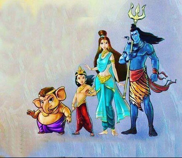 """Lord Shiva Family... #lordshiva  #lordganesha #parvatima #kartikey #hindu #god #devotional #spritual #divine #mahadev #shankara #shiva #bholenath…"""