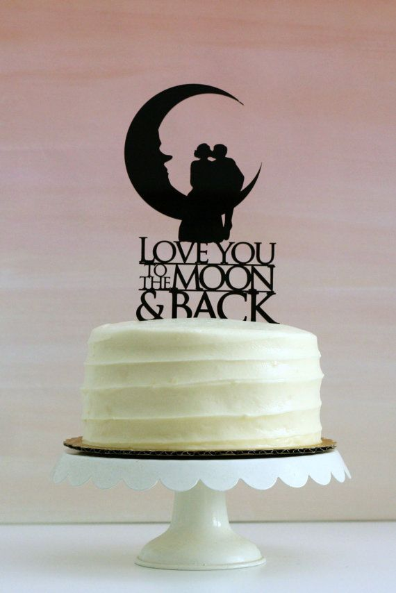 Love You To the Moon and Back - Silhouette Wedding Cake Topper - from Simply Silhouettes