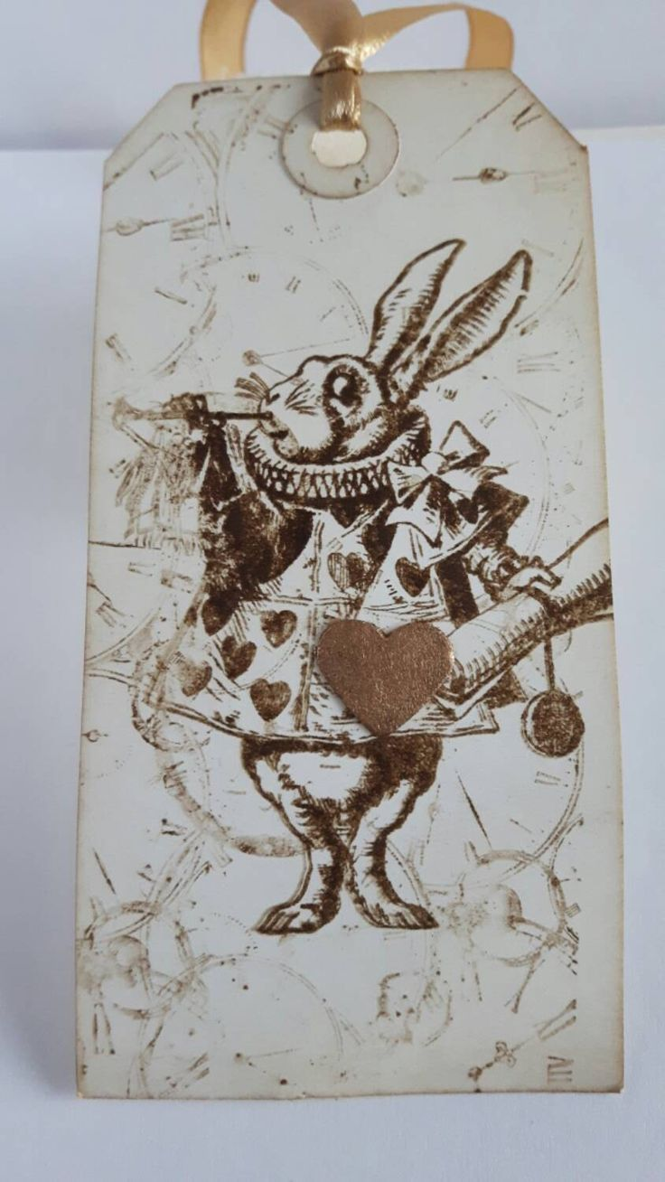 41 best handmade christmas gift tags images on pinterest nice 10 vintage alice in wonderland white rabbit handmade gift tags easter gold pinned by pin4etsy negle Images