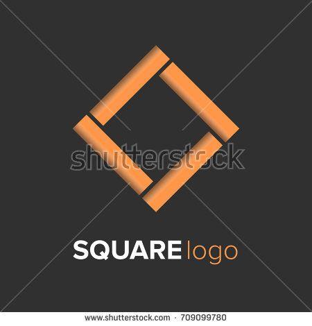 Gold square logo template design. Modern logo illustrator for company eps.10