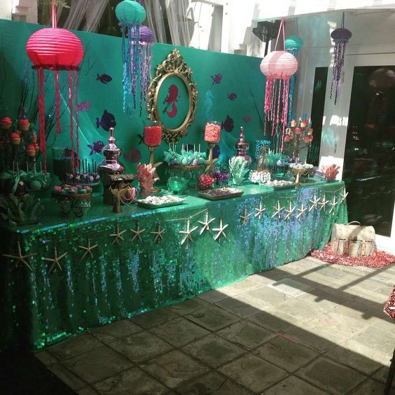 25 best ideas about mermaid party decorations on for Ariel party decoration ideas