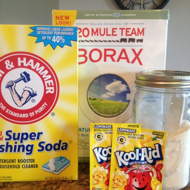 Dish Washer Soap.  I made. I liked.  1 cup Borax,  1 cup Arm & Hammer washing soda (found in the laundry isle.) and 2 packs unsweetened lemonade Kool-aid.   Use 1 tablespoon for each load of dishes.