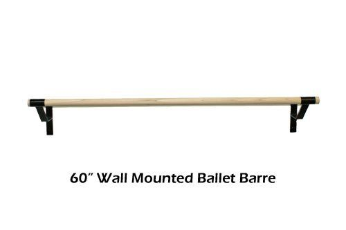 """5 ft Wall Mounted Ballet Barre by The Beam Store. $99.99. This is a 5 ft Wall Mounted Ballet Barre. The Barre is designed for Home or Studio use. The rail is made of premium 1 1/2"""" Hardwood for durability and lasting strength. The rail is flush with the tubing so the entire length of the Barre can be used."""