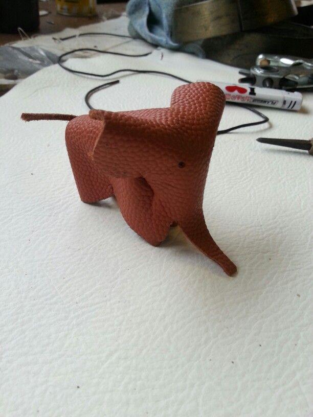 Finished leather elephant