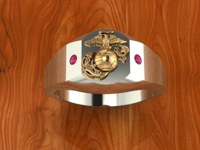 two tone gold marine corps ring with rubies marine corps. Black Bedroom Furniture Sets. Home Design Ideas