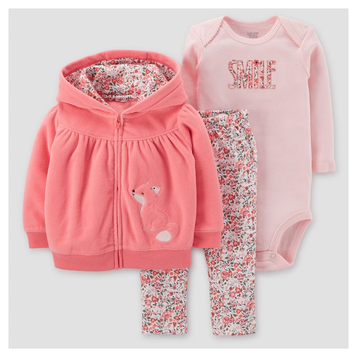 Baby Girls' 3pc Fleece hooded Floral Fox Set - Just One You Made by Carter's Pink 24M, Size: 24 M