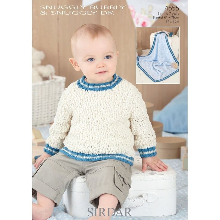 Sirdar 4555 Sweaters and Blanket for newborn to 7 years in Double Knitting (#3) weight yarn.