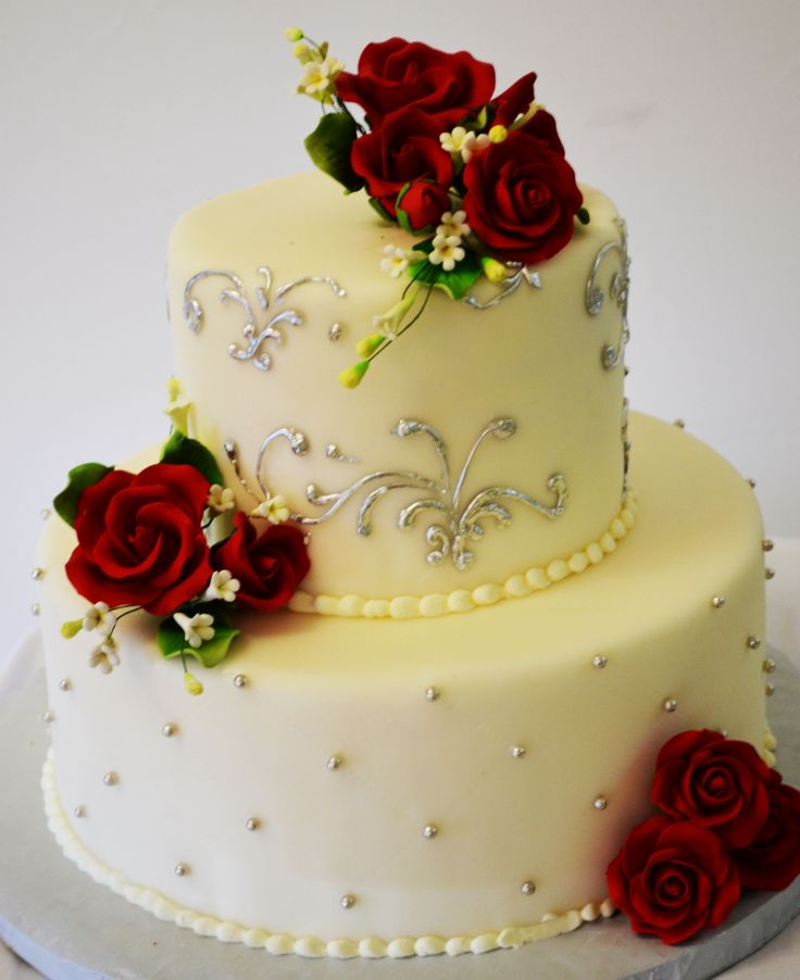 Pastry Palace Las Vegas - Wedding Cake #W903 – Beads & Roses. White round fondant tiers with silver flourishes and beading, red roses.