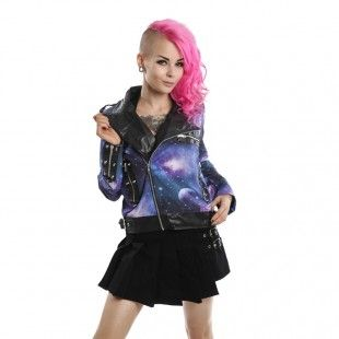 GALAXY BIKER JACKET BLACK/BLUE