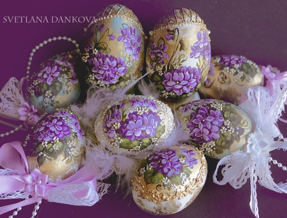 Easter Egg Hand Painted Purple Violets Wooden by LaivaArt on Etsy