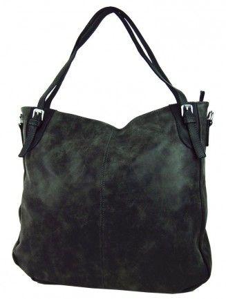 Velká kabelka na rameno z broušené kůže TH2012 černá - Kliknutím zobrazíte detail obrázku.