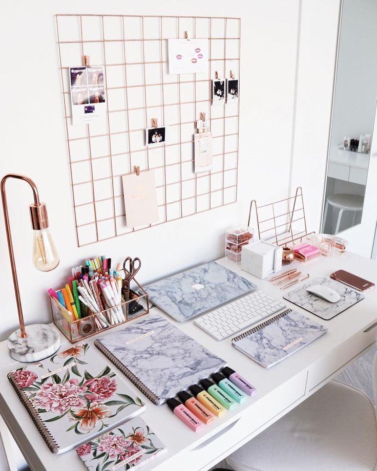 Wire Wall Desk Grid Cute Desk Decor Home Office Decor Room Decor