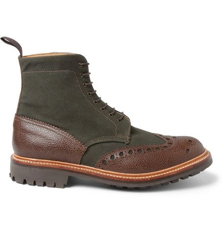 London Collections. Men Christopher Raeburn X Grenson Canvas and Textured-Leather Boots