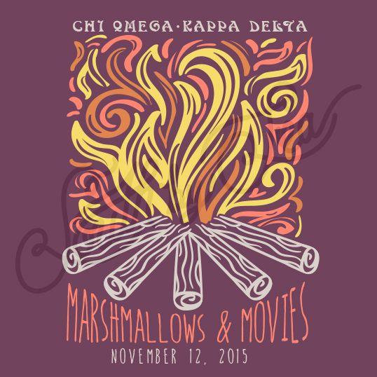 Sorority Social Chi Omega Bonfire Camping Marshmellows South By Sea