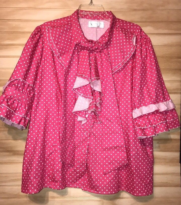 SHARON TANG Modest Apparel PINK POLKA DOTS SIZE 3X SUIT RUFFLES #sharontang