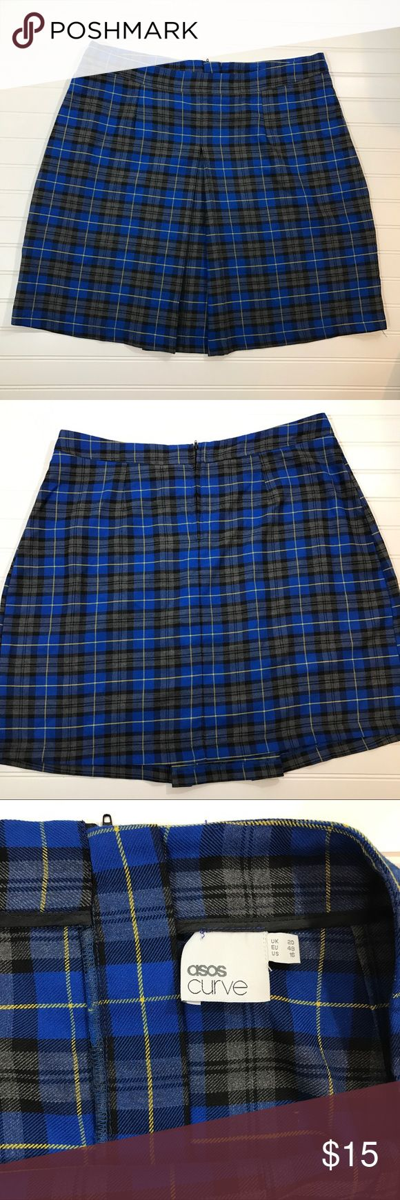 Asos Curve Blue Plaid Mini Skirt Size 16 Adorable blue, black, and yellow plaid mini skirt from Asos Curve, size 16. In like new condition. Features front pleat, and zipper in back. Measurements (taken flat): Waist-29 in, Hips-25 in, Length-21 in ASOS Curve Skirts Mini
