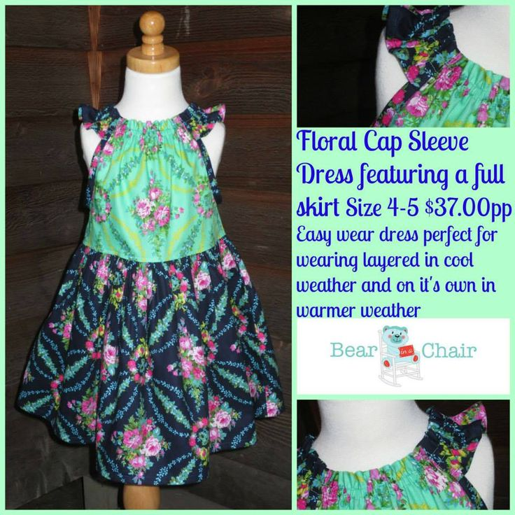 Handmade By Bear In A Chair  Floral Cap Sleeve Dress featuring a Full Skirt Size 4-5