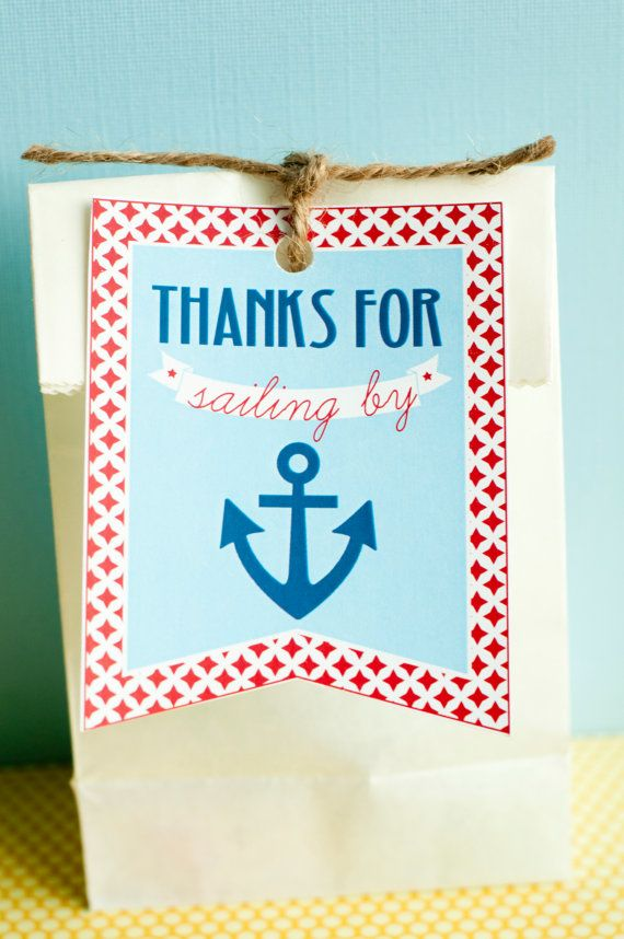 Blue & Red Nautical Baby Shower PRINTABLE Favor Tags by lovetheday, $8.00
