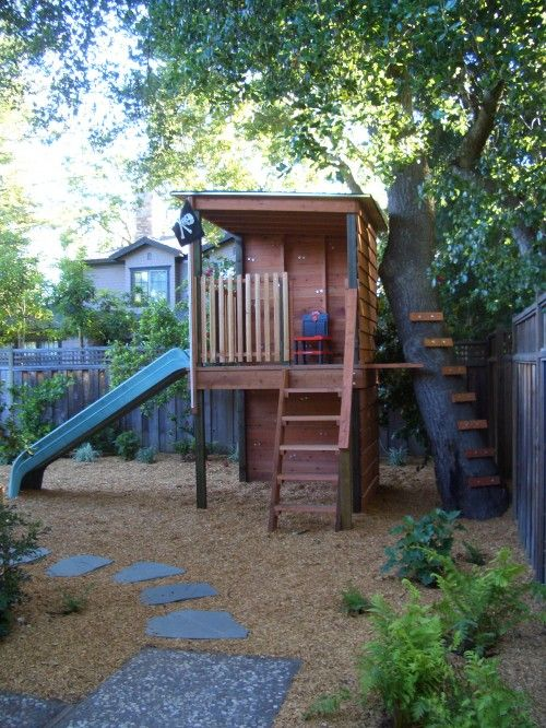 Simple playhouse.: Backyard Ideas, Plays Structure, Treehouse, Trees House, Plays Area, Kids, Outdoor Spaces, Landscape, Playhouse