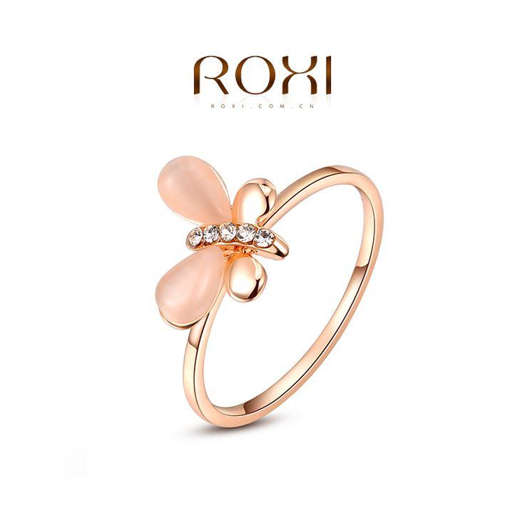 Ring met Elegante Vlinder Rose Verguld mt Zirkonia steentjes