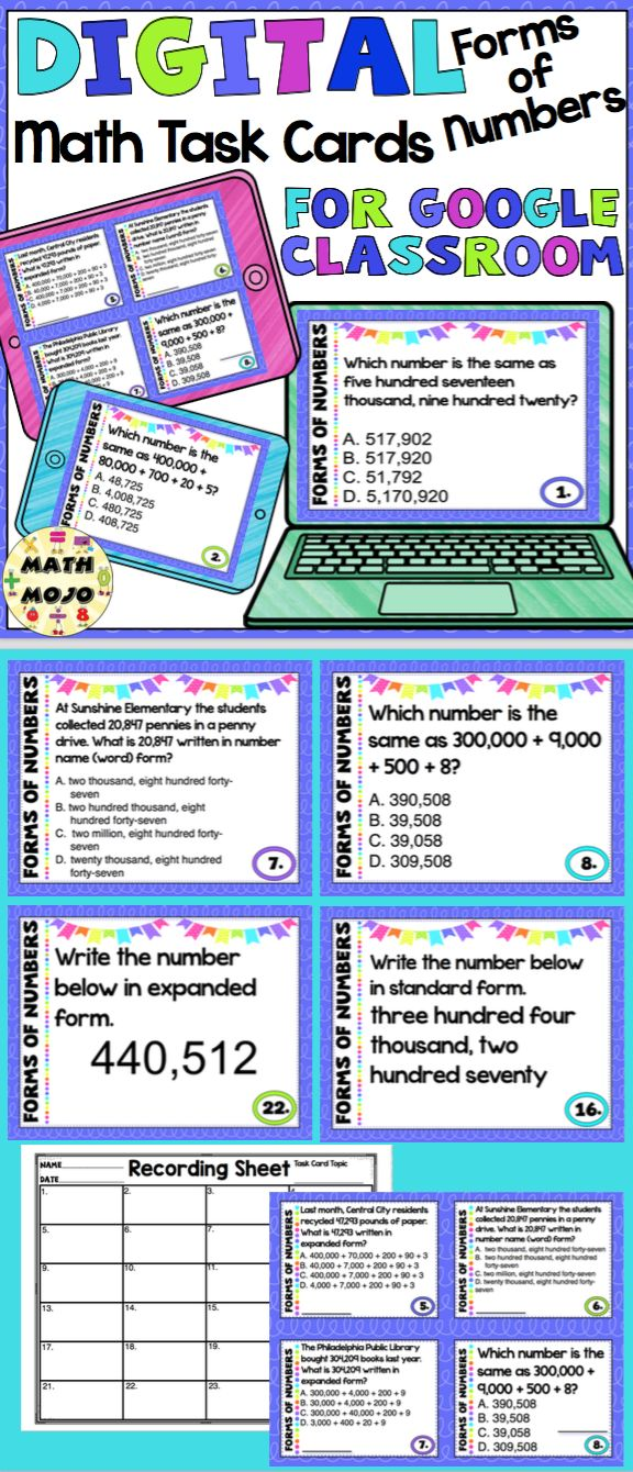 Digital Forms of Numbers Task Cards for Google Classroom 4th Grade - Your students will have a blast with this set of digital forms of numbers task cards. This paperless resource is perfect for centers, individual practice, small group work, fast finishers, and more! $
