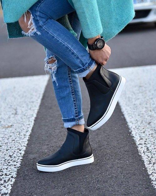 Czarne botki slip-on