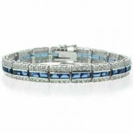 Paris Jewelry 10 Carat Tanzanite and Diamond Tennis Bracelet $170